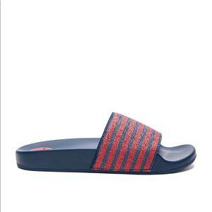 MARC JACOBS Cooper Slides Sandal Red Navy Metallic
